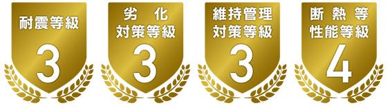 耐震等級3 劣化対策等級3 維持管理対策等級3 断熱等性能等級4